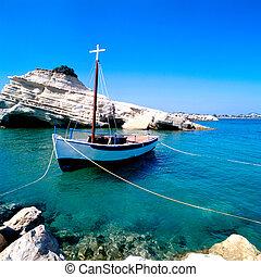 amarrado, barco de pesca