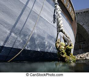 amarrado, bote