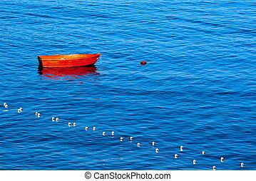 amarrado, boya, barco, rojo, fila