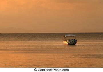 amarrado, ocaso, barco