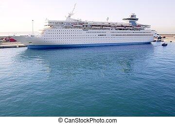 amarrado, puerto, crucero, islas, balear, barco