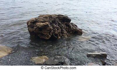 amarrage, océan, mer, pierre, dans eau, vagues, de,...