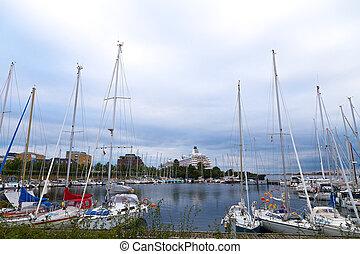 amarrage, port, danemark, gris, contre, petit, yachts, marina, skies., copenhague