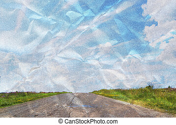 amarrotado, azul, vazio, estrada, céu, acima