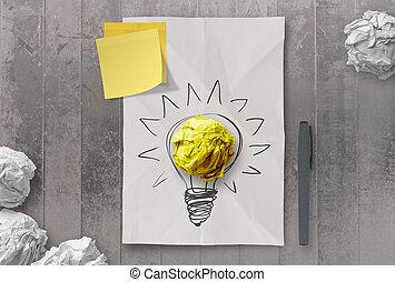 amarrotado, conceito, luz, idéia, nota pegajosa, papel,...