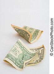 amarrotado, conta, dólar