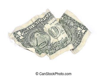 amarrotado, dólar