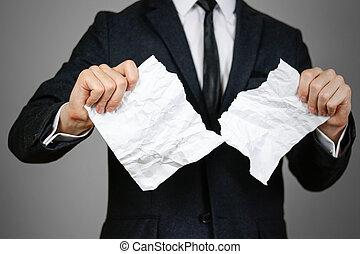 amarrotado, folha, paper., cinzento, isolado, a4, fundo, mãos, homem negócios, rasgando