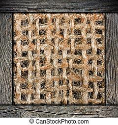 amarrotado, madeira, burlap, quadro, fundo