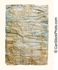 Amarrotado, papel, antigas, textura