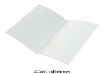amarrotado, paper., dobrado, fazendo, a4, fundo, branca, 3d