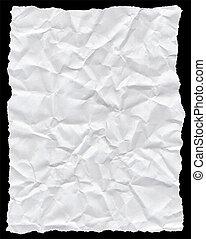 amarrotado, rasgado, isolado, textura, papel, branca, black.