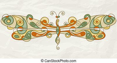 amarrotado, textura, papel, vetorial, libélula, stylized