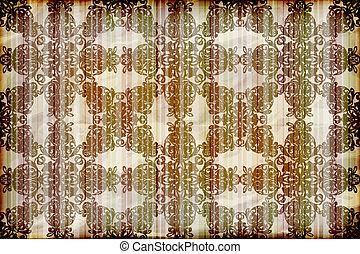amarrotado, vetorial, queimadura, papel parede, seamless, textura, fundo, papel, floral, listrado