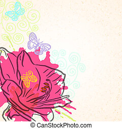 Amaryllis background - Vector background with bright pink...