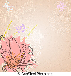 Amaryllis background - Vector background with pink flower...