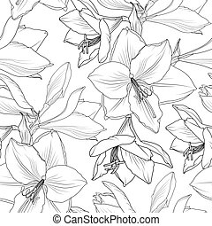 Amaryllis hippeastrum lily floral seamless pattern -...