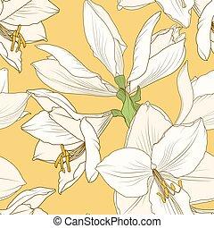 Amaryllis hippeastrum yellow beige floral pattern -...