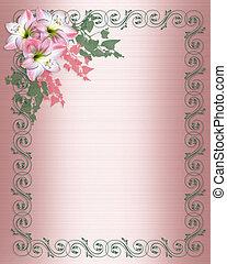 Amaryllis pink flower Border on Satin