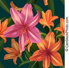 amaryllis seamless pattern [Converted] - Illustration of...