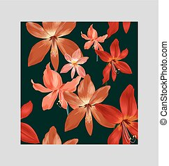 Amaryllis seamless pattern - Illustration of floral seamless...