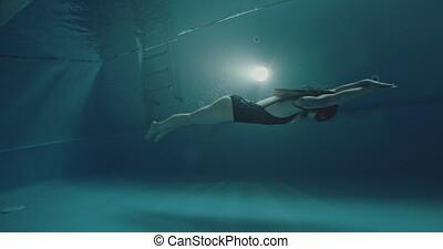 amateur, dolfijn, aziaat, techniek, zwemmer, vrouw