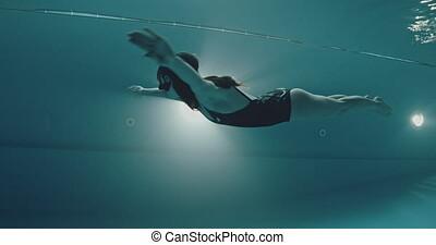 amateur, dolfijn, zwemmer, techniek, vrouw