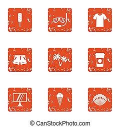 amateur, iconen, set, grunge, stijl