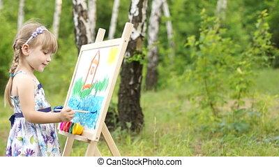 Amateur painter painting a picture