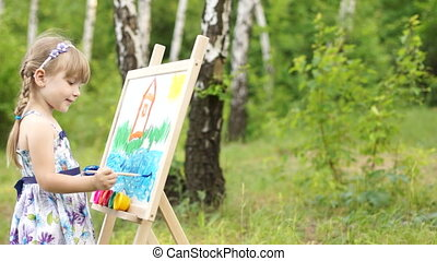 Amateur painter painting a picture