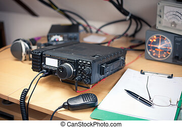 Amateur radio station: closeup of an a radio transciever