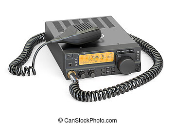 amateur radio transceiver with push-to-talk microphone switch, 3D rendering