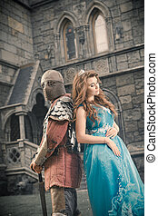amato, cavaliere, medievale, suo, lady.