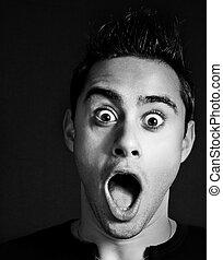 Amazed and shocked funny man