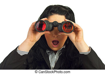 Amazed business woman with binocular