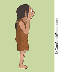 amazed caveman cartoon portrait