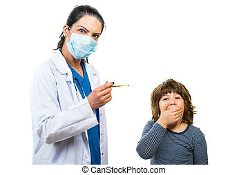 Amazed doctor and kid about boy temperature