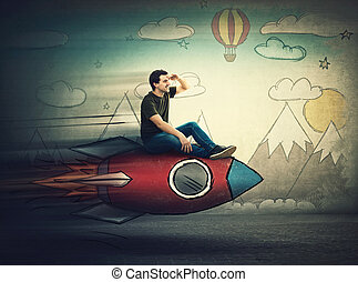 Amazed guy flying on a fast rocket looking hand to forehead looking far away for a vacation destination. Excited man searching for summer holiday. Starting new adventure.