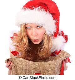Amazed Miss Santa with Christmas Bag