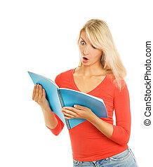 Amazed student. Isolated on white background