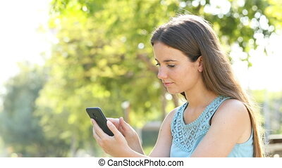 Amazed woman finding awesome phone content - Amazed woman...
