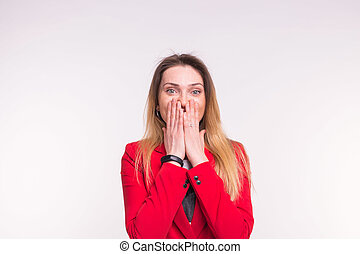 Amazement, shock and emotions concept - Portrait of surprised pretty young woman on white background