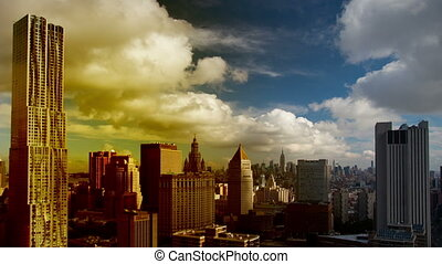 amazing abstract colourful panning time-lapse of manhattan skyline from a high vantage point