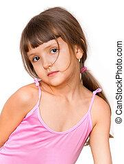 Amazing adorable little girl isolated on white background