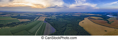 Amazing Aerial panorama from a drone of plowed and green fields, trees at sunset, agriculture concept. Countryside farmland in the summer.