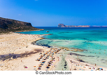 Amazing aerial panoramic view on the famous Balos beach in Balos lagoon and pirate island Gramvousa. Place of the confluence of three seas (Aegean, Adriatic, Libyan). Balos beach, Chania. Crete island. Greece. Europe.