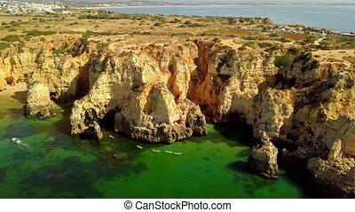 Amazing aerial shot of rocky coast