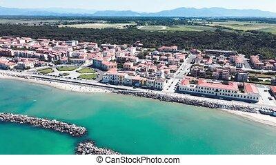 Amazing aerial view of Marina di Pisa coastline, Tuscany. Italian shoreline from the air