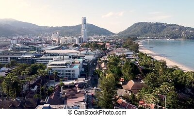Amazing aerial view of Phuket coastline, Thailand. Patong Beach on a beautiful morning