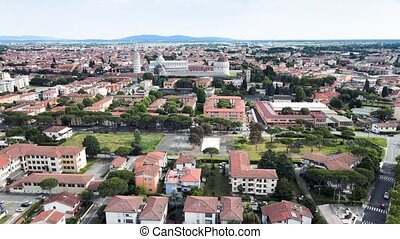 Amazing aerial view of Pisa, famous town of Tuscany, Italy